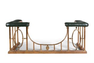 A VICTORIAN COPPER AND BRASS CLUB FENDER, fitted with angled padded seats to each corner,