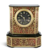*PLEASE NOTE WRONG EASTIMATE IN THE CATALOGUE* A 19TH CENTURY EBON AND BOULLE WORK MANTLE CLOCK,