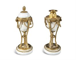 A PAIR OF 19TH CENTURY FRENCH ALABASTER AND ORMOLU REVERSIBLE CASSOULETS, of urn shape,