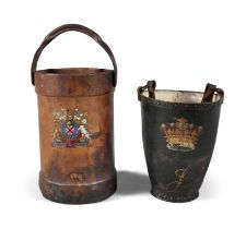 A LEATHER MILITARY ARTILLERY SHELL BUCKET, 19TH CENTURY, the leather body of cylindrical form