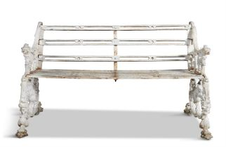 A PAIR OF 19TH CENTURY CAST IRON RAILWAY BENCHES, AFTER A DESIGN MADE FOR THE FURNESS RAILWAY