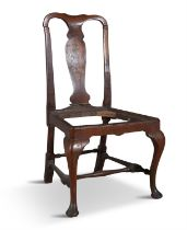 A RARE IRISH WALNUT TALL BACK CHAIR, EARLY 18TH CENTURY, the central vase shaped splat with