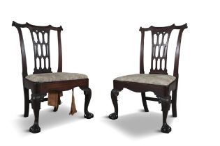 A PAIR OF IRISH MAHOGANY SIDE CHAIRS, C.1760, with carved pierced gothick splat backs,