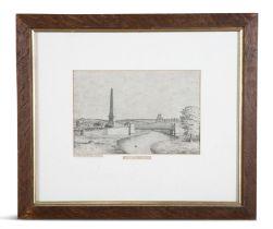L. FAGAN (IRISH) The Boyne Obelisk of Oldbridge Ink and graphite on paper, 17 x 25cm With signed