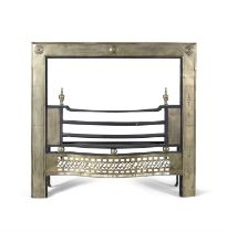 A GEORGE III IRON FRAMED BRASS REGISTER FIRE GRATE, the frame with engraved decoration and roundels,