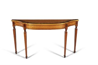 A GEORGE III PAINTED SATINWOOD AND ROSEWOOD BANDED CONSOLE TABLE, c.1780, ATTRIBUTED TO SEDDON,