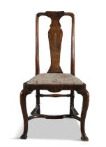 AN IRISH EARLY 18TH CENTURY PROVINCIAL GEORGE III INLAID FRUITWOOD SIDE CHAIR, with vase shaped
