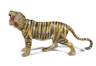 A LARGE AUSTRIAN COLD PAINTED MODEL OF A BENGAL TIGER BY BERGMAN OF VIENNA, 19th Century,