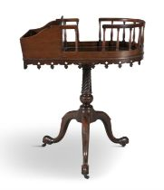 A GEORGE III MAHOGANY CUTLERY AND PLATE STAND C.1770, with box and bowed gallery swivel top on
