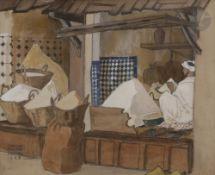 Camille Paul JOSSO (1902-1986) Meknes, marchands d'épices, 1928 Gouache et crayon noir. Signée,