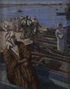 Mathilde ARBEY (1890-1966) Pêcheurs à Salé, Maroc Pastel. Signé en bas à droite. 54 x 45 cm