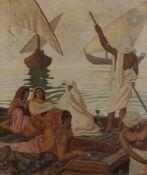 Émile Marie BEAUME (1888-1967) Femmes au repos sur une felouque Huile sur toile. Signée en pied. (