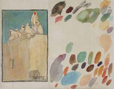 Camille Paul JOSSO (1902-1986) Salé, Maroc, femmes sur la terrasse, 1927 Aquarelle sur traits de