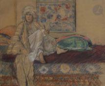 Gaston Charles Guillaume DARBOUR (1869-1964) Au harem Pastel. Signé et titré en bas à droite. 44 x
