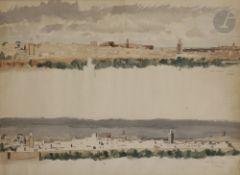 Camille Paul JOSSO (1902-1986) Vue de Meknes à midi et le soir, 1932 Aquarelle. Signée et datée en