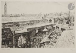 Camille Paul JOSSO (1902-1986) Meknes ; Remparts ; Souk Trois eaux-fortes. Situées et signées en bas