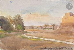 GILLIARD Oasis de Meuzel Gabès, 1902 2 aquarelles. Signées, datées et annotées. 25 x 34 cm et 16 x