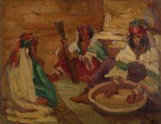 *Alfred DEHODENCQ (1822-1882) Femmes algériennes Huile sur panneau. Monogrammée en bas à droite.