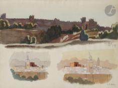 Camille Paul JOSSO (1902-1986) Chellah, 1927 Aquarelle sur traits de crayon noir. Signée, située