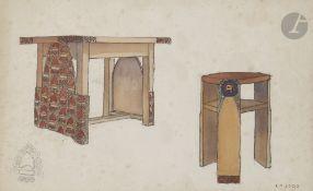 Camille Paul JOSSO (1902-1986) Étude de mobilier orientalisant Aquarelle sur traits de crayon