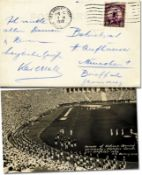 Autograph Olympic Games 1932 Postcard - Black-and-white postcard showing the Opening Ceremony of the