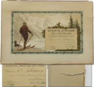 Olympic Winter Games 1924 Olympic Diploma - Official winner certificate from the 1st Olympic Winter
