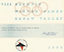 """Olympic Games 1960. Winner diploma figure skating - """"This is to certify that M.Schnelldorfer of Germ"""
