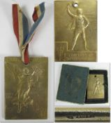 """Olympic Games 1900. Winner´s Medal Silver gilt - Front shows """"Republic Francaise. Exposition Univers"""