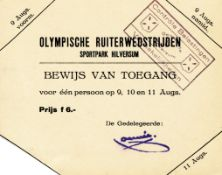 Ticket: Olmypic Games 1928: Equestrian - Official season ticket for equestrian events during the Oly