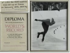 """World Record Diploma 1966 Iceskating Netherlands - Official certificate speed skating  """"Diploma. We"""