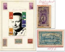 Olympic Games 1896 1920 1972 Stamps - Ccollector sheet with nine original stamps from the Olympic Ga
