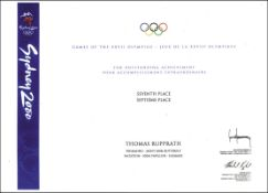 Olympic Games Sydney 2000. Participation Diploma - Official diploma for athletes and IOC-Members. Wi