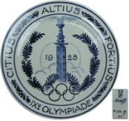 """Olympic Games 1928 Amsterdam decorative plate - Hand-painted ceramic wall plate. """"IXe Olympiad Amste"""