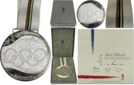 Olympic Winter Games 1992 Silver Winner medal - winner medal from the Olympic Games in Albertville 1