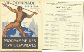 Olympic Games 1924 Official Programm Swimmig - Official daily programme VIIIth Olympiade Paris 1924.