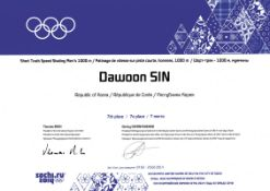 Olympic Games 2014 Winner diploma short track - Issued with the respective particpation medal to  at