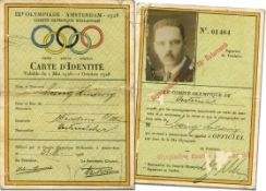 Olympic Games Amsterdam 1928. ID-Card for athlets - Carte d´Identité IXe Olympiade Amsterdam 1928. O