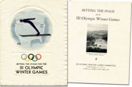 Olympic Winter Games 1932 Official Bulletin - Setting the Stage for the III Olympic Winter Games. Of