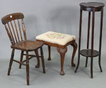 A spindle-back kitchen chair with hard seat, & on ring-turned legs with spindle stretchers; together