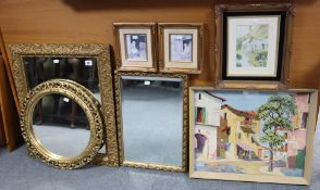 Three gilt frame wall mirrors; together with various decorative pictures; a copper jardinière, etc.
