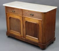 A Victorian mahogany marble-top washstand inset tiles to the stage-back, fitted two frieze drawers