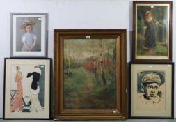Twenty-one various decorative paintings & prints all framed.