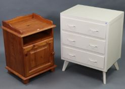 """A white painted wooden small chest fitted three long drawers, & on splay legs, 23½"""" wide x 28½"""" high"""