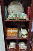 "A reproduction gilt pelmet, 58"" long; together with four decorative prints, various ornaments, etc."