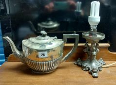 A silver plated teapot of oval semi-fluted design; together with various other items of platedware &
