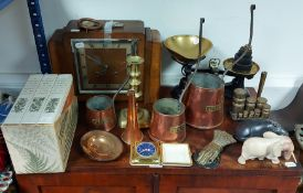 Two mid-20th century oak-cased mantel clocks, two 19th century trinket boxes, various items of