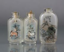 """Two Chinese inside-painted glass snuff bottles, the larger 2¼"""" bottle of rounded rectangular form,"""