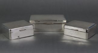 A silver rectangular cigarette box, with engraved initials to the hinged lift lid, Birmingham