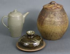 A David Leach (1911-2005) studio pottery teapot of tapered cylindrical form, with all-over