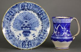 """A mid-18th century Dutch Delft blue & white large dish, decorated with the """"Peacock"""" pattern, with"""
